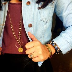 Fashion blogger, @tfdlaurenashley wearing her Fancy Initial necklace and some Taudrey bangles.