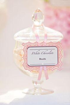 love the label! | Vintage Wedding Candy Cart via Kara's Party Ideas