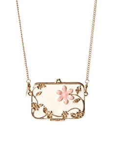 And Mary Enamel Mirror Compact Necklace