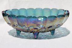 Indiana carnival glass bowl, 70s vintage blue iridescent glass harvest grapes fruit bowl