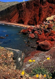 Akrotiri Beach on Santorini, Greece... The Exotic contrast of Red Sand and Blue Water...:)