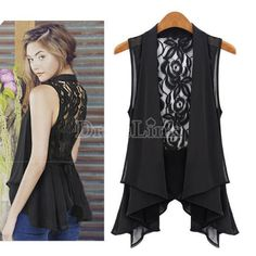 Fashion Women's Medium Vest Lace Back Sleeveless Pleated Hem Chiffon Blouse