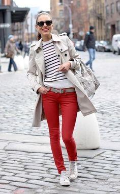 Jeans Vermelho + All Star *_*