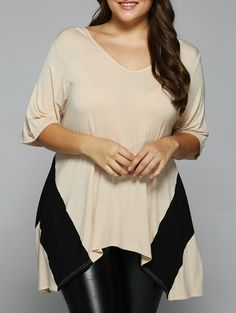 $10.55 for Plus Size Asymmetrical Loose Fitting Blouse in Light Apricot   Sammydress.com  Explore our amazing collection of plus size fashion styles and clothing. http://wholesaleplussize.clothing/