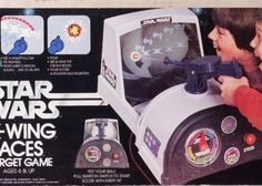 Star Wars X-Wing Aces Target Game. I remember my next-door neighbor having this game when we were kids. It was a lot of fun. Tiny TIE fighters were projected with light on the back of the unity. You had to play in a darkened room so you could see the barely visible light images. As you can probably tell from the gun design, Kenner repurposed a WWII shooting game for this. These are increasingly hard to find.