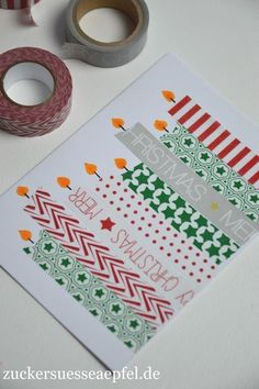 Very easy Christmas cards made with masking tape .- Kinderleichte Weihnachtskarten mit Masking Tape selbst gemacht ♥ ️ Sugar-sweet apples ♥ ️: Easy Christmas cards made with masking tape - Simple Christmas Cards, Christmas Card Crafts, Homemade Christmas Cards, Homemade Cards, Handmade Christmas, Christmas Cards For Children, Diy Holiday Cards, Washi Tape Cards, Masking Tape