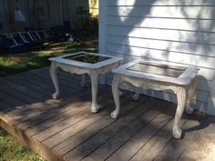 Painted Shabby End Tables with Ball and Claw Feet Pair