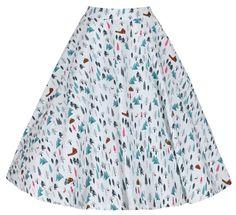 Peggy' Winter Trees Print Rock 'n' Roll Full Circle Skirt