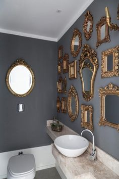 Henrique Steyer - gilded mirrors, grey walls, white crown molding, white vessel sink wall An apartment in Brazil defined by luxury and eclecticism White Vessel Sink, Eclectic Bathroom, Eclectic Decor, Bathroom Interior, Modern Bathroom, Grey And Gold, Dark Grey, Blue Grey, Grey Walls