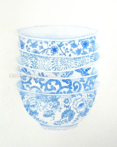 blue bowls watercolor print