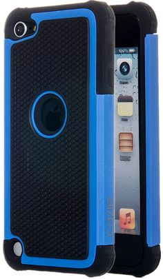 iPod Touch, Dual-layer Heavy Duty Matte Rugged Protective Cover Case for Appple iPod Touch 6th Gen 5th Gen by Cazle (Blue)