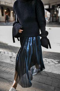 The Christmas Jumper - www.beigerenegade.com  J.W. Anderson Tie Wrist Knit Designers Remix Pleated Skirt