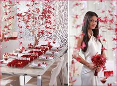 RED SILVER WHITE WEDDINGS | this gorgeous red, white, and butterfly theme from Pacific Weddings ...