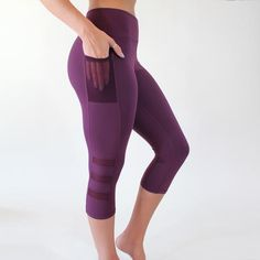 Fierce Capris - Plum workout pants with pocket for you phone. thank you!