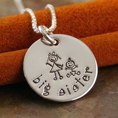Hand Stamped Jewelry  Personalized Sterling by IntentionallyMe - Big Sister Small Tag