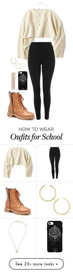 """high school life #1"" by juliabeaumont on Polyvore featuring Uniqlo, Topshop, BaubleBar, Fifth & Ninth and Smith & Cult"