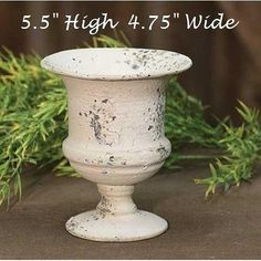 French Country Metal Urn Planter CREAM Shabby Chic Rustic Chippy Antique-Style #Unbranded