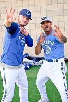Toronto Blue Jays Josh Donaldson and Marcus Stroman Blue Jay Way, Go Blue, Baseball Toronto, Marcus Stroman, Baseball Pictures, Josh Donaldson, Mlb Teams, American League, Toronto Blue Jays
