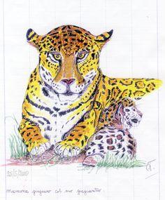 Mamma giaguaro col giaguaretto Mamma, Paintings, Animals, Animales, Paint, Animaux, Painting Art, Animal, Painting