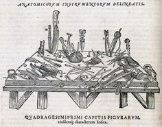 Dissecting instruments from Andreas Vesalius' De Humani Corporis Fabrica, Venice, 1568 Andreas Vesalius, Medical Drawings, Medical Pictures, Book Of Shadows, Visual Communication, Renaissance, History, Illustration, Prints
