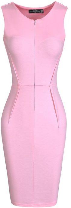 jeansian Women's Formal Slim V-Neck Sleeveless Pencil Dresses WKD194