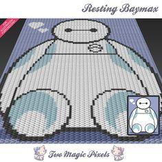 Resting Baymax, Disney Big Hero 6 inspired c2c graph crochet pattern; instant…