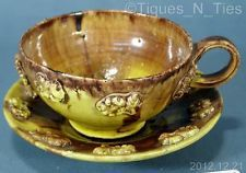 Vintage c1930s Oaxaca Mexico Drip Ware Majolica Pottery Cup and Saucer