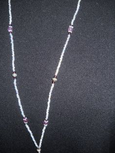 Beaded Lanyard Purple with silver tone accents by liverbitz, $15.00