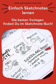 Ein tolles Geschenk für Sketchnotes Fans ist der Quick Start Sketchnotes Block. Der Block ist eine Art Hands-On-Anleitung für Leute, die sich mit dem Thema Sketchnotes beschäftigen wollen. Es gibt Sketchnotes Ideen und Sketchnotes Anleitungen sowie leichte Einsteiger-Übungen als auch komplexe Fortgeschrittenen-Übungen für Sketchnotes Zeichnungen, die direkt in den Block gezeichnet werden können.  Sketchnotes Menschen | Sketchnotes Geburtstag #Nadine Roßa #Sketchnotes-love Visual Thinking, Workshop, Sketch Notes, Simple Doodles, Food Illustrations, Bullet Journal, Book Projects, Doodles, Picture Ideas