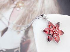 Cubic Zirconia Necklace, Red color, flower design.
