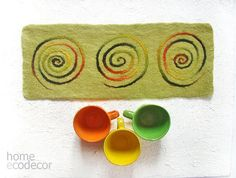 Felt Table mat Felted wool Placemats Place Mat Felt Placemats Modern Placemats Wedding Gift Green
