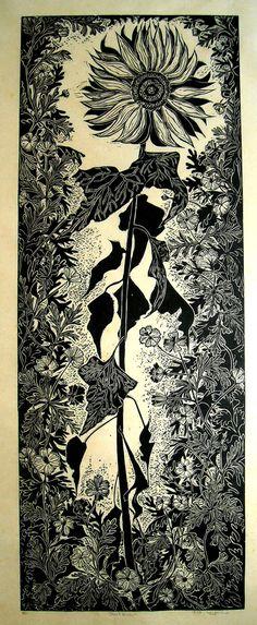 LaganaDesign on Etsy Linoleum Block Print Sunflower