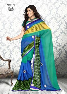 #Green & Sky Blue Onlyokay Printed #Sarees  Green & Sky Blue, printed fashion saree, has contrast print detail along the borders Comes with a blouse piece.Length: 5.5 metres plus 0.80 metre blouse piece. Available in 47% Discount @aimdeals