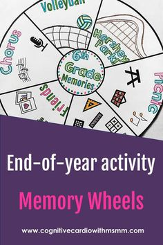 Memory Wheels - First Day, Last Day, and Any Day in Between! - Cognitive Cardio Math End Of School Year, Middle School, Book Report Projects, Read 180, End Of Year Activities, Wheel Of Fortune, Math Classroom, Classroom Ideas, School Memories