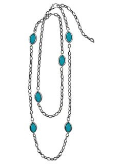 Love this long silver necklace available in black mother of pearl, malachite, white mother of pearl, and turquoise! 04-80579  <3 Capri Jewelers