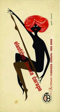 "Poster for Bosna socks factory Bosanski Brod; Bosnia and Herzegovina; design by Savo Simončić, unknown year. Source: ""Good choice"", exhibition catalog, examples of commercial advertising from 1950s and 1960s: Marinko Sudac Collection, 2014"