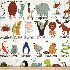 Monkey's Bizness ABC with Me Animal Alphabet Natural $9.20 per Yard