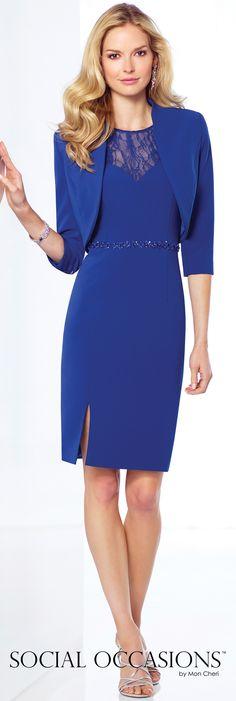 Short Evening Dresses by Mon Cheri - Spring 2017 - Style No. 117813 - sapphire blue short evening dress with bolero jacket