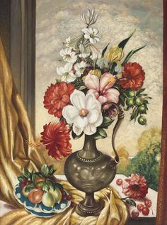 (Still Life with Ewer, Mixed Flowers and Cherries) - ADRIAN FEINT