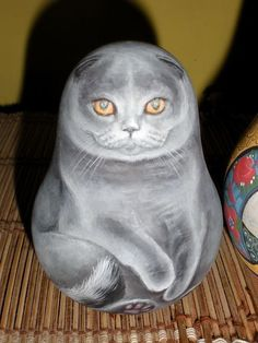 Russian matryoshka tumbler cat handmade exclusive