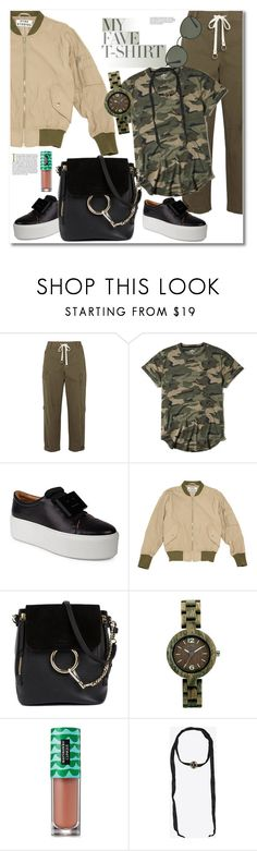 """""""Get the look Fave  T-shirt"""" by vkmd ❤ liked on Polyvore featuring T By Alexander Wang, Hollister Co., Acne Studios, Chloé, Clinique, Yves Saint Laurent, Ray-Ban and MyFaveTshirt"""
