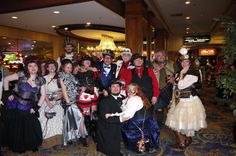 Steampunks pose - at Steamathon 2015- Doc Phineas' World Steampunk Convention in Las Vegas at the Main Street Station Hotel and Casino #steamathon
