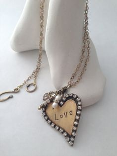 Love Stamped Mixed Metal Heart Necklace Swarovski by metallography, $85.00