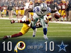 End of the 3rd QTR: Cowboys 10, Redskins 10. http://oak.ctx.ly/r/1xxzt #football
