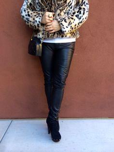leather pants + faux leopard fur