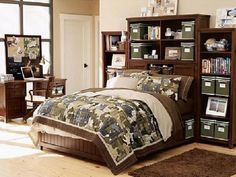 the dark furniture is a perfect compliment to the camo colors. I love all the shelving/storage.