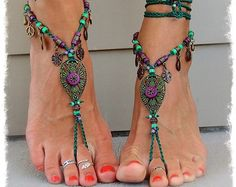 Woodland FAIRY BAREFOOT sandals Purple Forest Green Tribal ANKLETS Gypsy Sandal Garden Wedding Toe ankle bracelet Nature jewelry GPyoga
