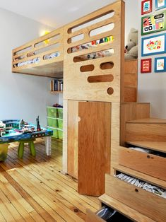, Adorable Contemporary Kids With Plywood Furniture For Unique Bed And Staircase With Drawers Also Natural Floorboards Color Also Adorable Table For Playing With Small Green Stool Also White Teddy Bear: Plywood Walls as Natural Tastes