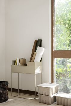ferm living AW19 Scandinavian interior design. Plant box used as home office storage.  #homedecor #minimaldesign #fermliving #scandinavianinterior #aw19