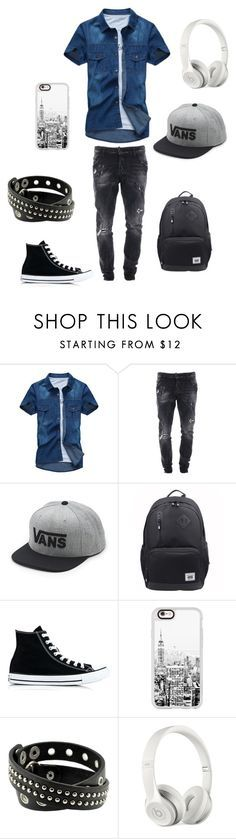 """the tomboy lesbian at school"" by alex-635 ❤ liked on Polyvore featuring Dsquared2, Vans, Traveler's Choice, Converse, Casetify and Beats by Dr. Dre"